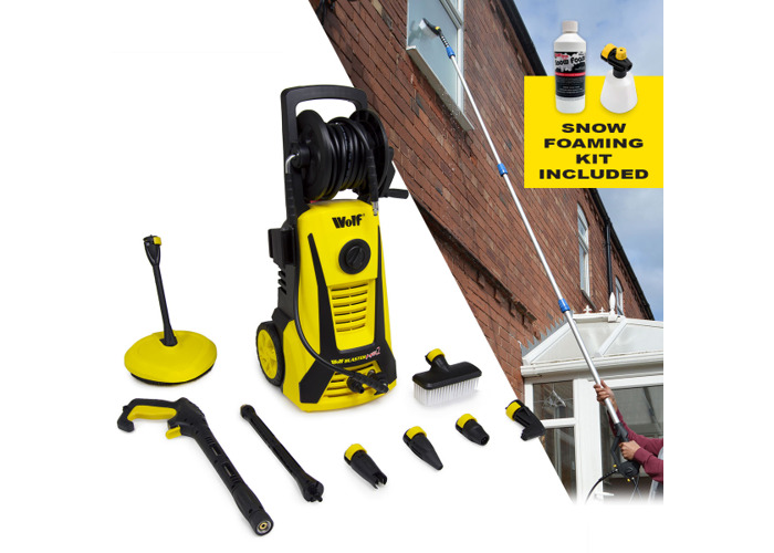 Wolf 165BAR Pressure Washer with Telescopic Lance & Snow Foaming Kit - 1