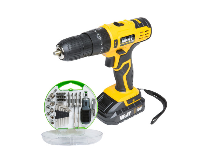 Wolf 18v Lithium Ion Combi Drill & 40pc Tool Set - 1