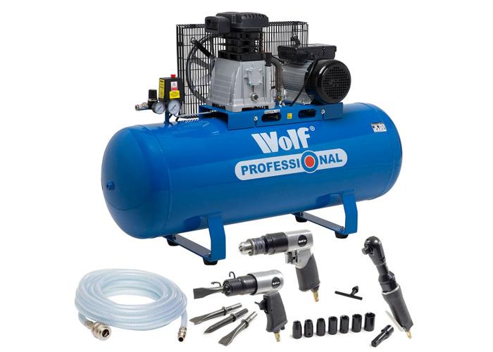 Wolf Dakota 150L Air Compressor with 3pc Air Tool Kit & 5m Air Hose - 1