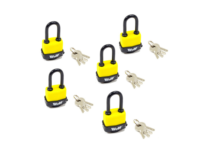 Wolf Heavy Duty 40mm Padlock with Long Shackle - Pack of 5 - 1