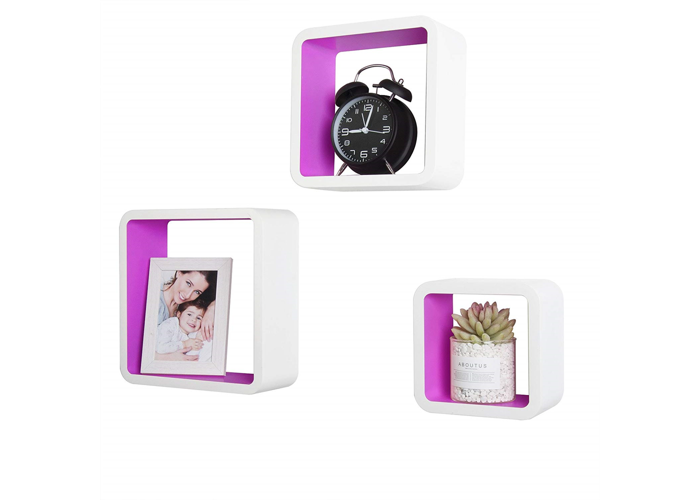 WOLTU Floating Shelves Violet-White Cube Floating Wall Shelves Set of 3 CD DVD - 1