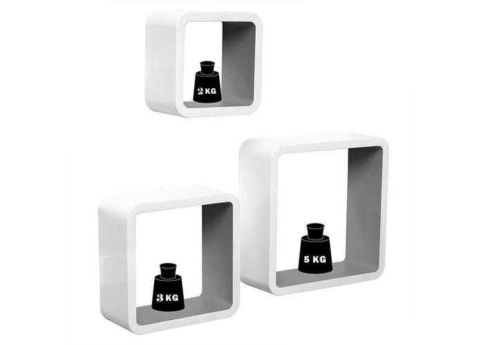 WOLTU Floating Shelves Violet-White Cube Floating Wall Shelves Set of 3 CD DVD - 2