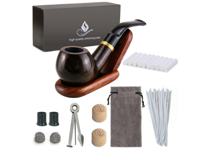 Buy Wooden Tobacco Smoking Pipe Set Bent Ebony With Stand