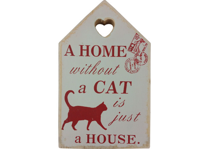 """Wooden Wall Plaque Red """"A Home Without A Cat Is Just A House"""" - 1"""