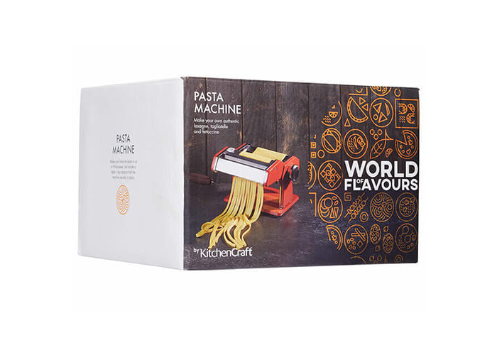 World of Flavours Stainless Steel Pasta Maker Machine - Red - 2