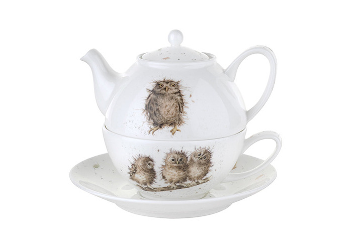 Wrendale by Royal Worcester Tea for One with Saucer Owls, Set of 1 - 1