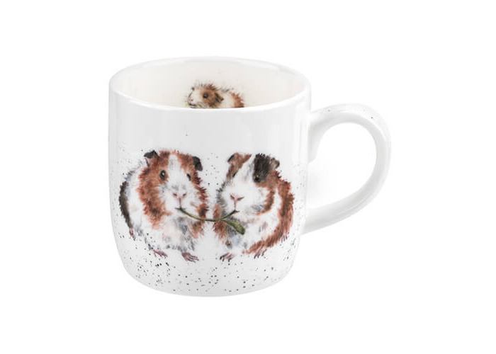 Wrendale by Royal Worcester Wrendale Lettuce Be Friends (Guinea Pig) Single Mug, Bone China, Multi-Colour, 11 x 6.5 x 8.3 cm - 1