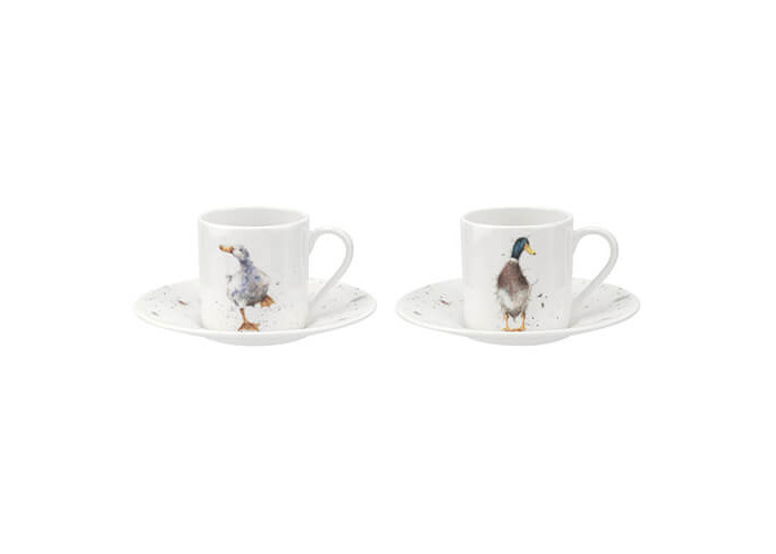 Wrendale Demitasse Cups & Saucers S/2 (Ducks), Multi Coloured - 1