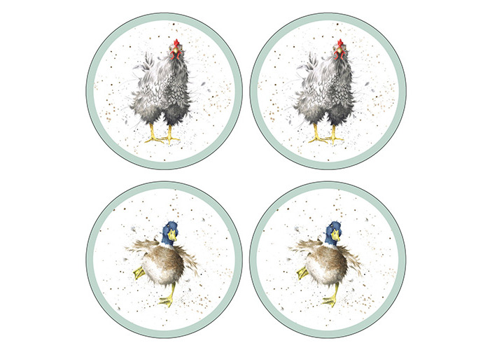 Wrendale Designs Farmyard Feathers Round Coasters Set Of 4 - 1