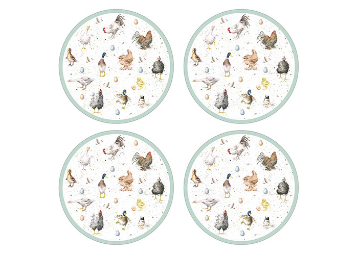 Wrendale Designs Farmyard Friend Round Placemats Set Of 4 - 1