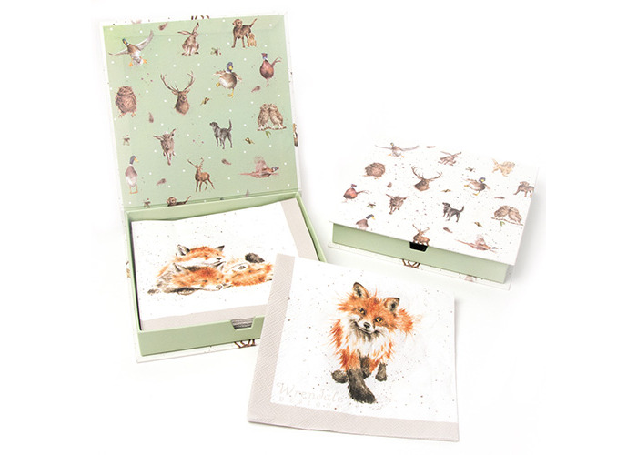 Wrendale Designs Pack Of 20 Fox & Foxes Paper Lunch Napkins Boxed - 1