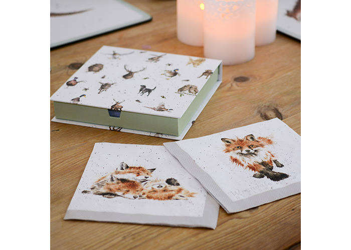 Wrendale Designs Pack Of 20 Fox & Foxes Paper Lunch Napkins Boxed - 2