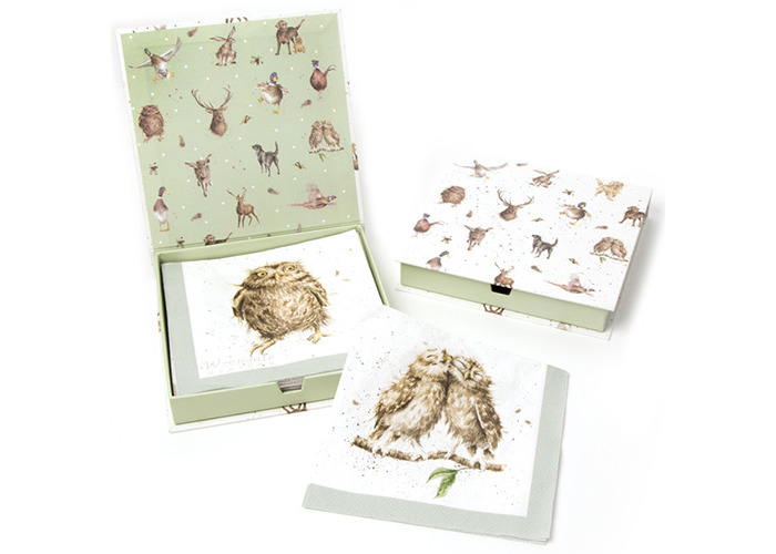 Wrendale Designs Pack Of 20 What A Hoot Owls Lunch Paper Napkins Boxed - 1