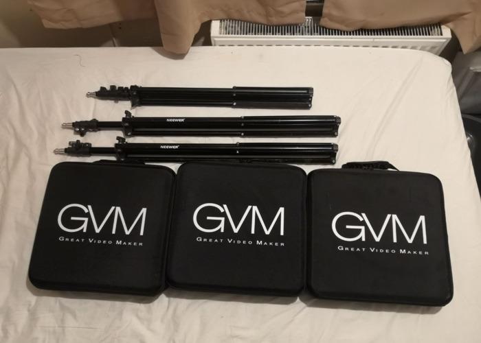 x3 GVM 50RS RBG Lights + x3 Light Stands + NP-F970 Batteries - 1