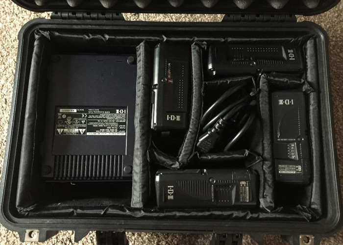 X4 V-LOCK IDX 146W Batteries + Charger + Peli - 1