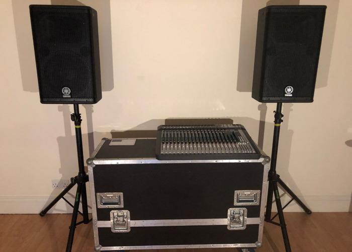 3KW Yamaha DSR112 Active 2 Way PA Speakers x2 with Stands - 2