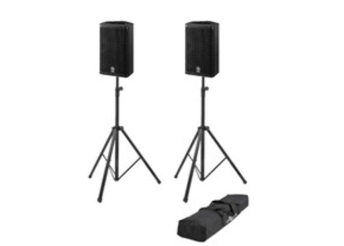3KW Yamaha DSR112 Active 2 Way PA Speakers x2 with Stands - 1