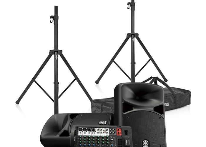 Portable PA Sound System with 1 Microphone and Stand - 1