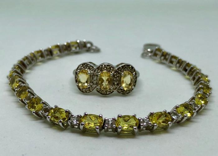 Yellow Amarelo Beryl & White Topaz Bracelet & Ring Set  - 1
