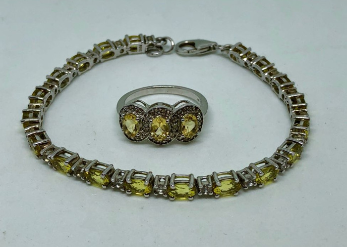 Yellow Amarelo Beryl & White Topaz Bracelet & Ring Set  - 2