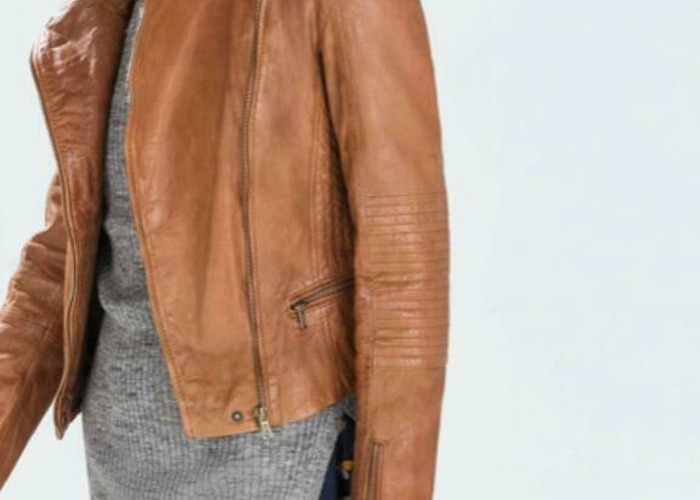 Zara TRF Zip Biker Leather Tan Camel Brown Jacket Padded Quilted Shoulders  - 2