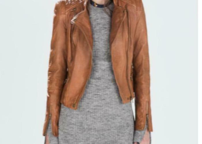 Zara TRF Zip Biker Leather Tan Camel Brown Jacket Padded Quilted Shoulders  - 1