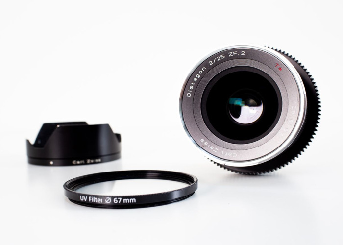 Zeiss 25mm *T F/2.0 ZF Distagon Lens (with lens gear)  - 1