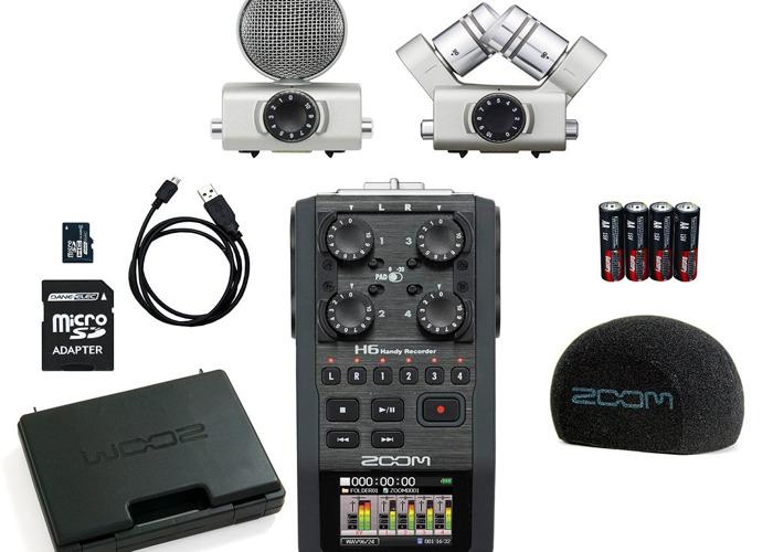 Zoom H6 Handheld Recorder + Accessory mics & Sennheiser mic - 1