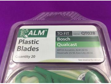 Pack of 20 Alm QT028 Qualcast Easi-Lite 28//30 Bosch Lawnmower Plastic Blades