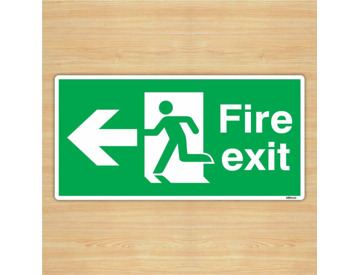 Fire Exit Right Down Arrow Safety Sign 30x15cm British Safety Vinyl Sticker