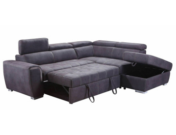 Buy **NEW** Modern Large Grey Suede Corner Sofa Bed Cheap ...
