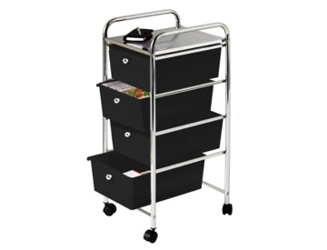 White Premier Housewares 8 Drawer Storage Trolley Metal
