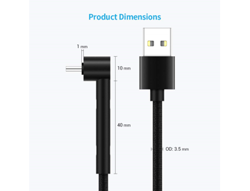 SUNGUY USB C Cable Right Angle,【2 Pack